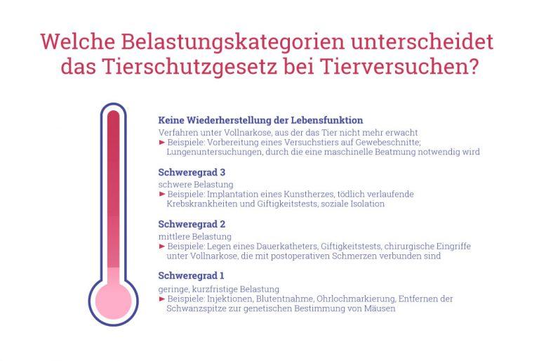 Grafik: Belastungskategorien von Tierversuchen laut deutschem Tierschutzgesetz.
