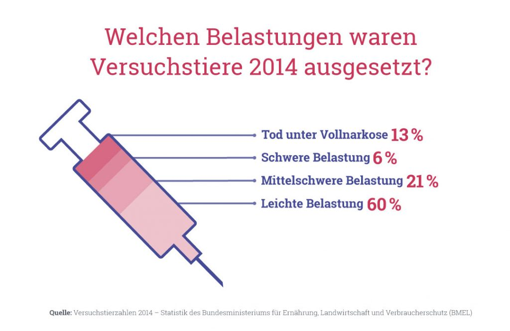 Grafik: Welchen Belastungen waren Versuchstiere 2014 ausgesetzt?