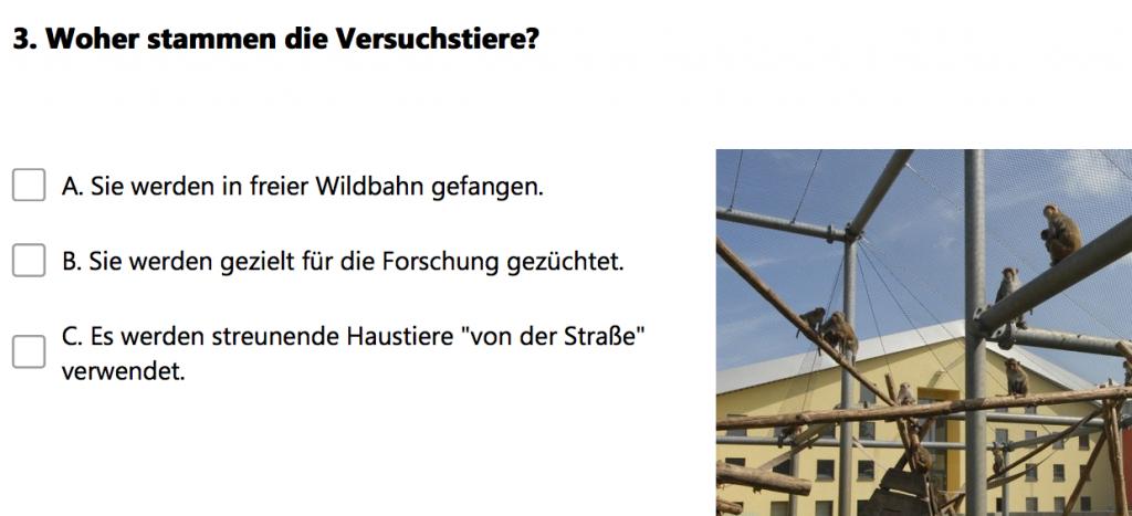 """Screenshot vom """"Tierversuche verstehen""""-Quiz"""