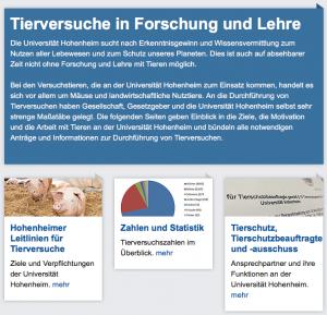 Website Universität Hohenheim